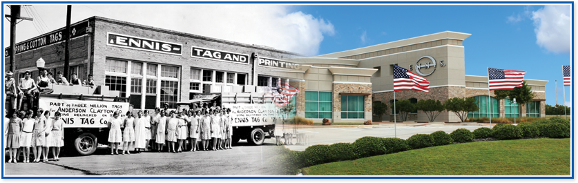 Picture of a historic Ennis plant blended with a picture of the corporate office.