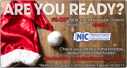 NIC Monthly Promo – 5% OFF* NEW Stock Envelope Orders!