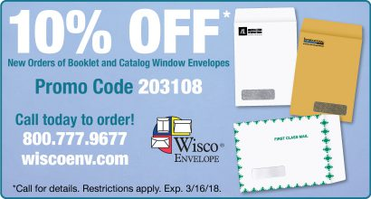 Wisco Envelope – 10% OFF* New Orders of Booklet and Catalog Window Envelopes.